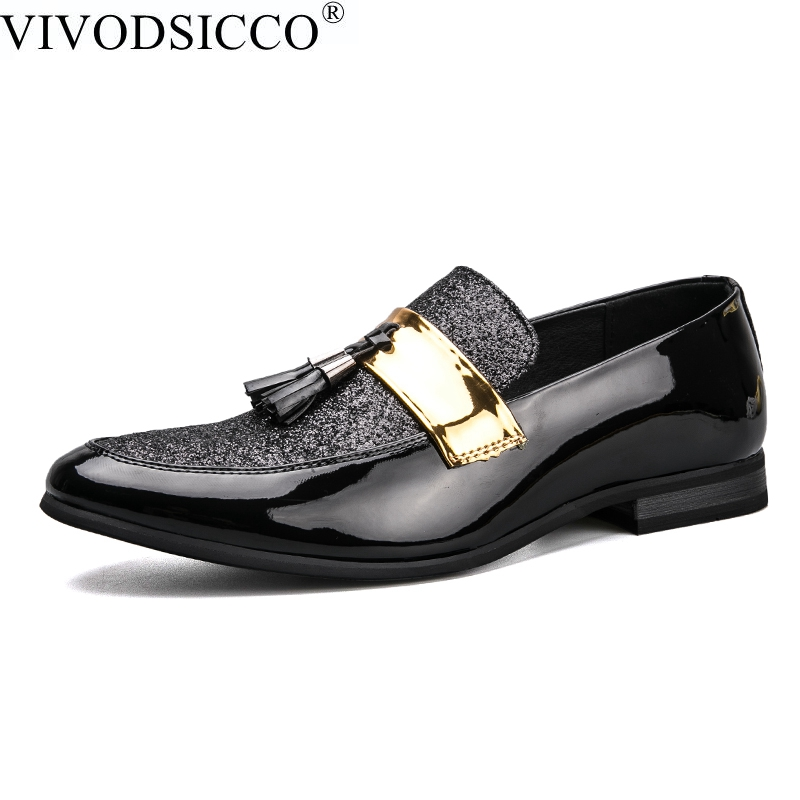 VIVODSICCO Patent Leather Men Loafers Shoes Casual Men Fashion Flats Design Man Slip-On Driving Shoes Soft Bottom Leather Shoes цены онлайн