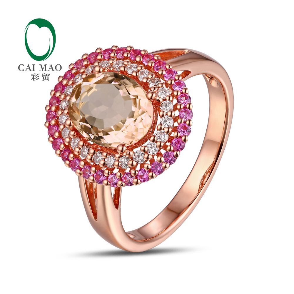 14K Rose Gold 1 54CT Oval Cut Morganite 0 22ct Diamond Sapphires Engagement Ring Free shipping