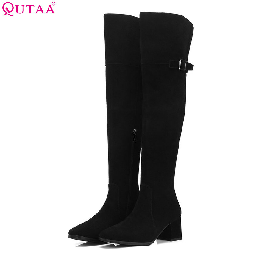 QUTAA 2019 Women Over The Knee High Boots All Match Platform Square Toe Cow Suede Zipper Women Motorcycle Boots Big Size 34-39
