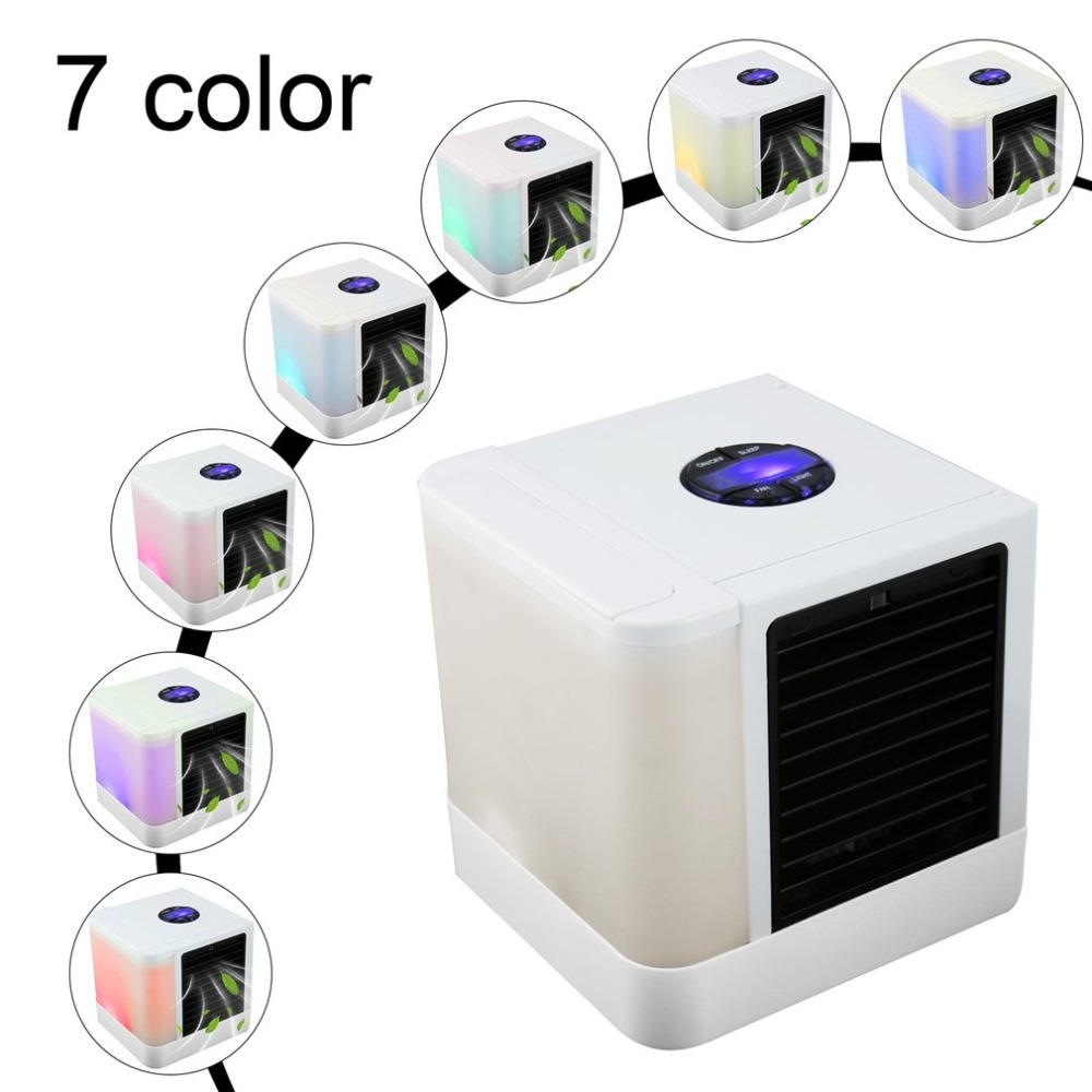 2019 USB Mini Portable Air Conditioner Humidifier Purifier 7 Colors Light Desktop Air Cooling Fan Air Cooler Fan for Office Home
