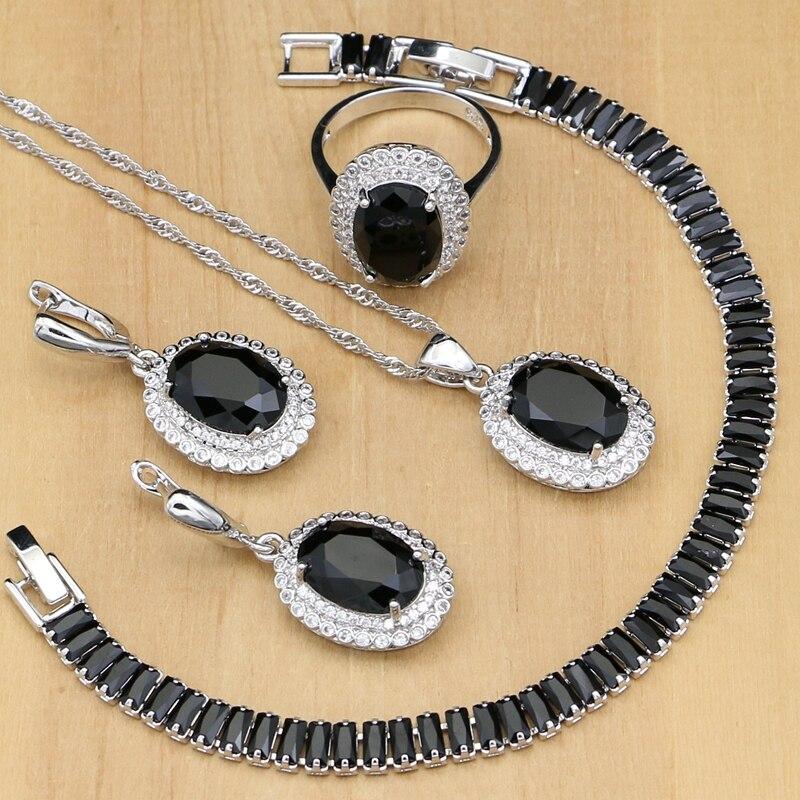 Schmuck & Zubehör 925 Sterling Silber Schmuck Schwarz Cz Weiß Kristall Schmuck Sets Für Frauen Charme Ohrringe Mit Stein Ringe/armband/ Halskette Set