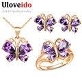 Uloveido joyería nupcial wedding sets púrpura mariposa de oro rosa plateado collar pendientes anillos de la joyería de la joyería regalos t234