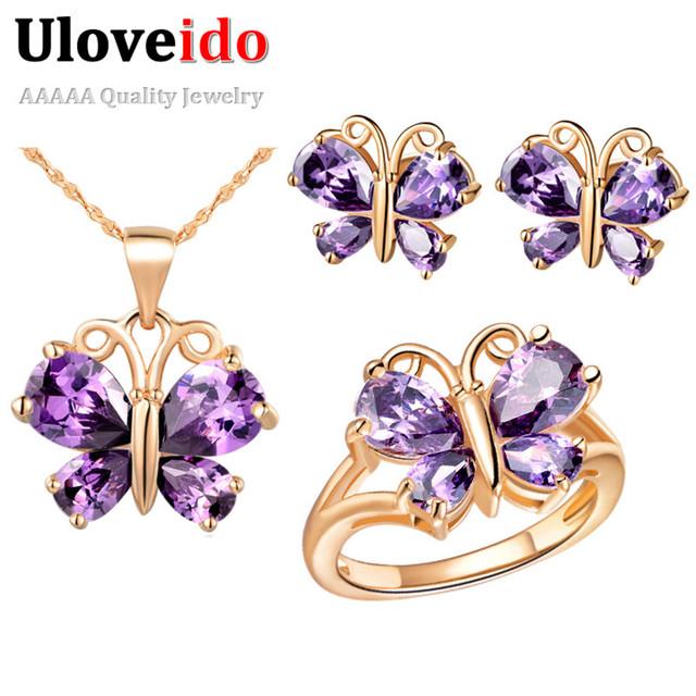 Uloveido nupcial conjuntos de jóias de casamento roxo borboleta rosa banhado a ouro colar brincos anéis jóias conjunto de jóias presentes t234
