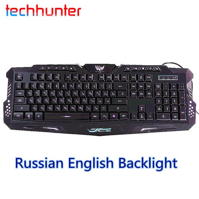 M-200 Ruso Inglés Colores de luz de Fondo USB Teclado Para Juegos Con Cable Con El Brillo De La Luz Ajustable Para El Ordenador Portátil de Escritorio