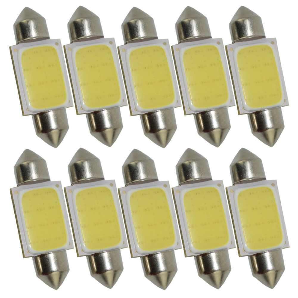 10pcs FESTOON COB 31mm 36mm 39mm 42mm LED Bulb 12 Chips 12smd C5W DC 24V White Color Car Dome Light Auto Interior Lamp 24V