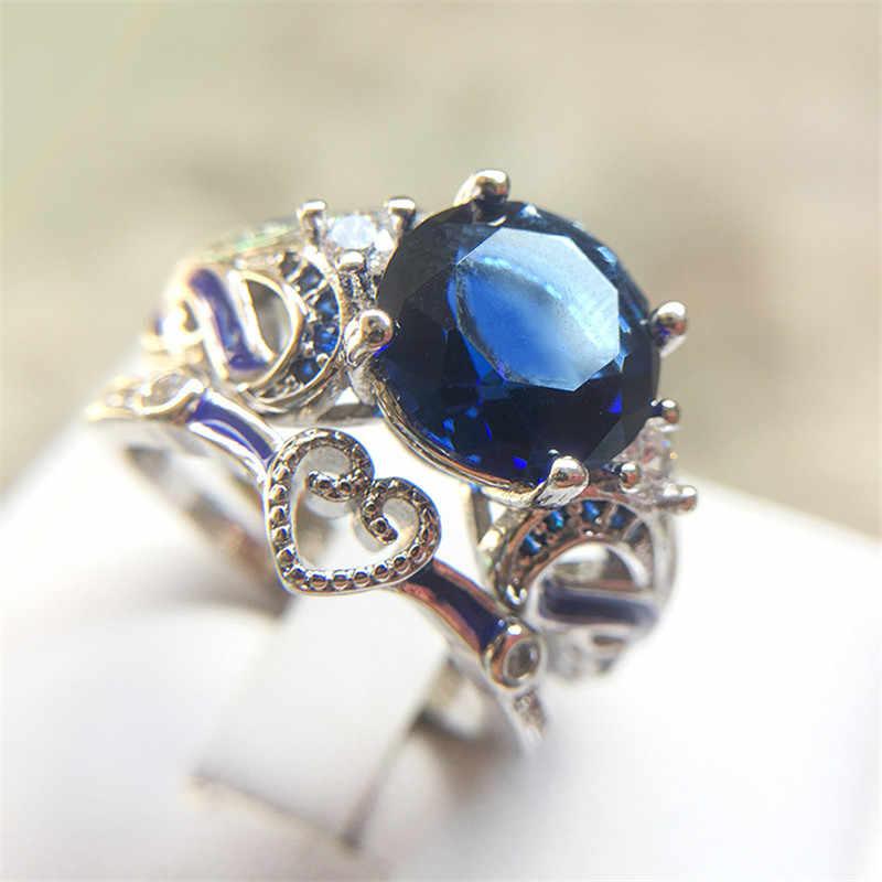 Bamos สีฟ้าแหวนชุดวินเทจแหวนหมั้นเพชรหรูหราวางซ้อนกันได้แหวนแฟชั่นผู้หญิงเครื่องประดับ