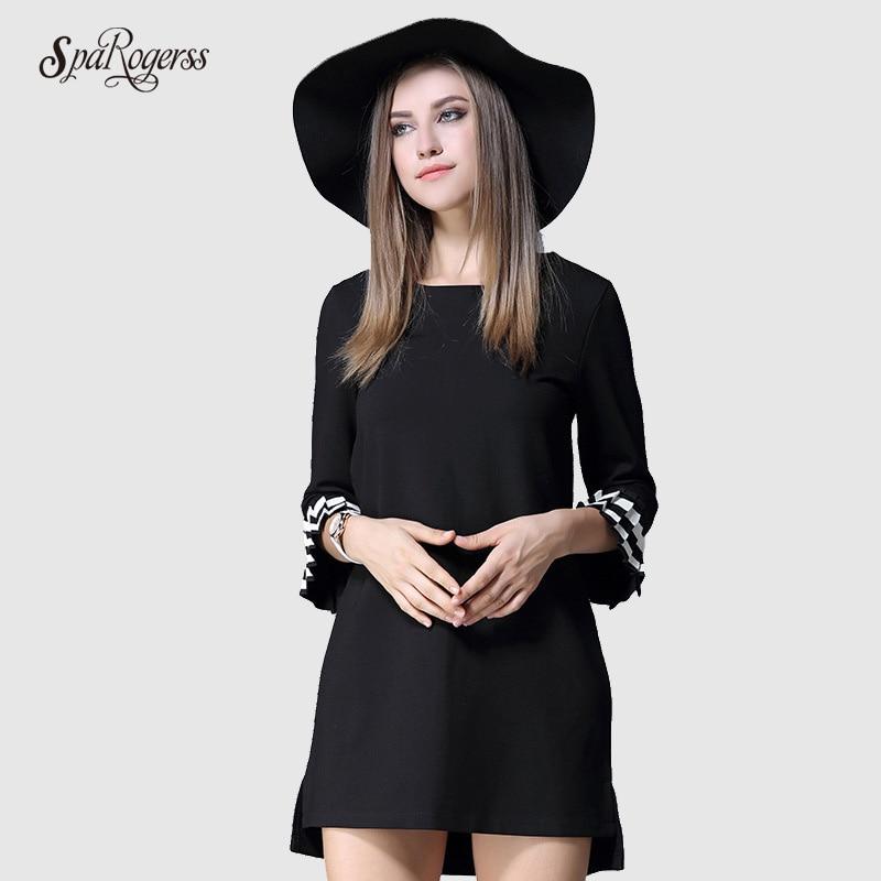 SpaRogerss New Autumn Women Dress Round Neck Trumpet Sleeve Hit Color Wrist Ruffles A-line Plus Size Woman Dress H8891