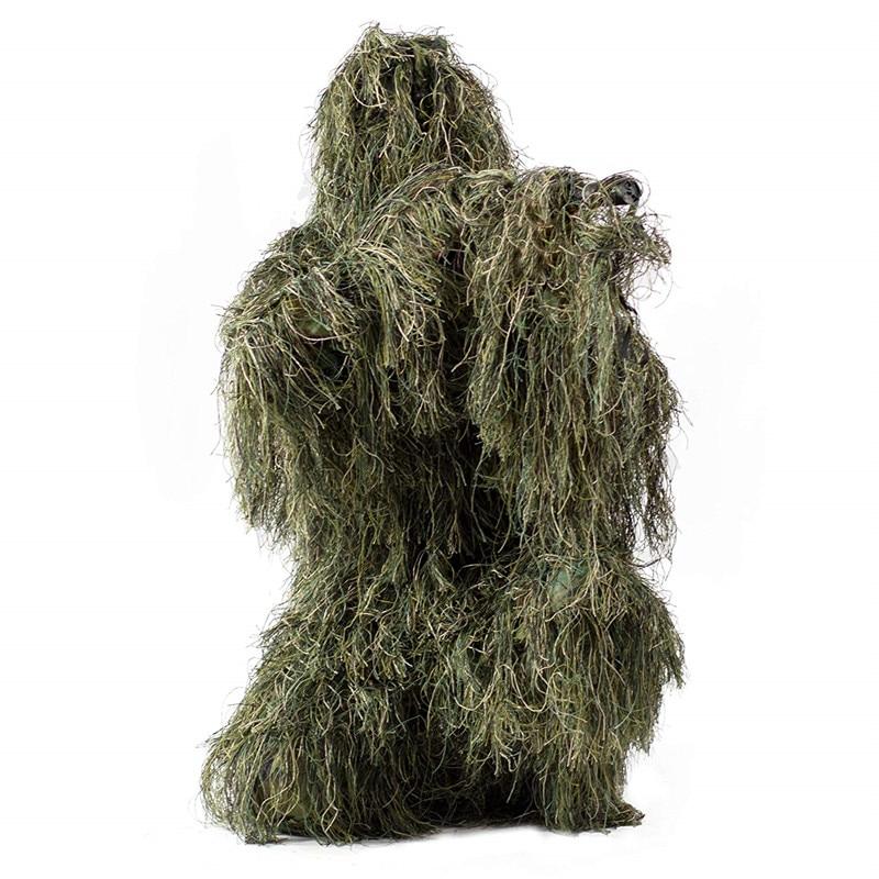 Caccia Ghillie Suit Camo Woodland Camouflage Foresta 3D Vestiti Tattici Sniper Vestiti di Caccia Outdoor Costume per Unisex Adulti