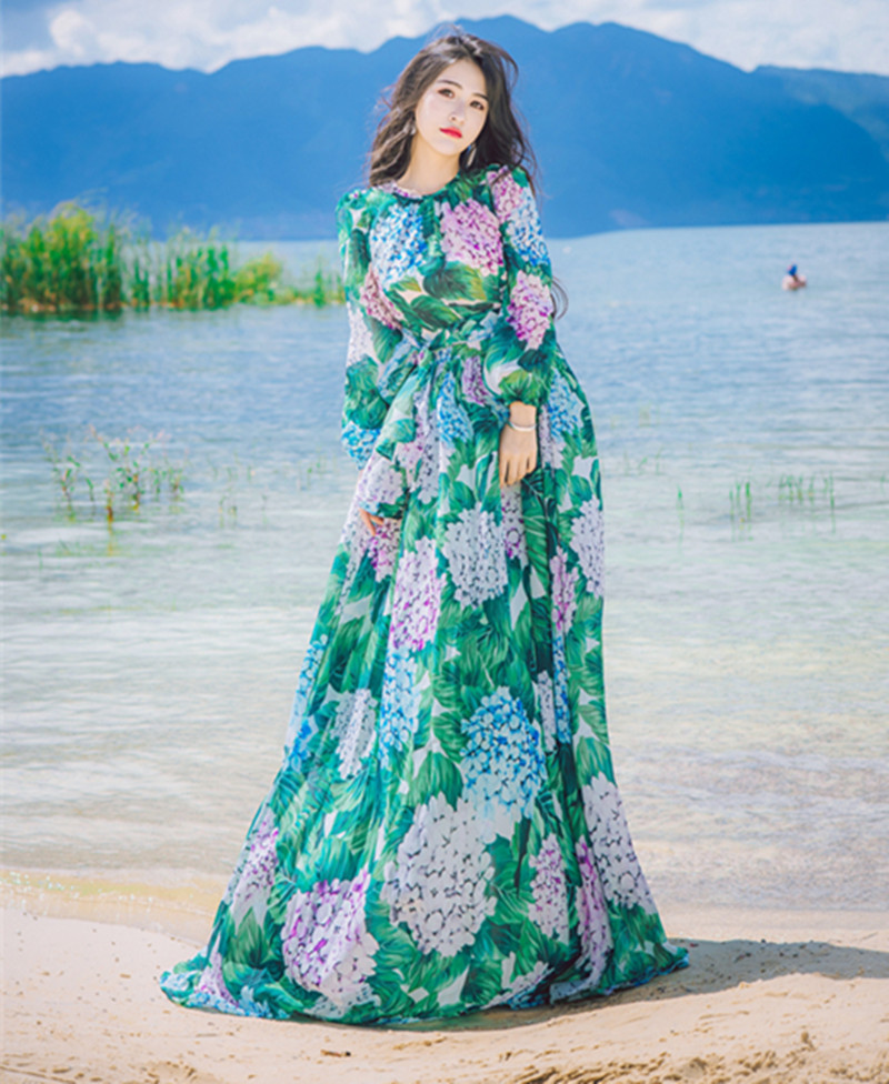 82c4ce2a3f9 Vestidos Vintage Floral Print Bohemian Ball Gown Maxi Dress Summer Womens  Long Sleeve Elegant Party Holiday