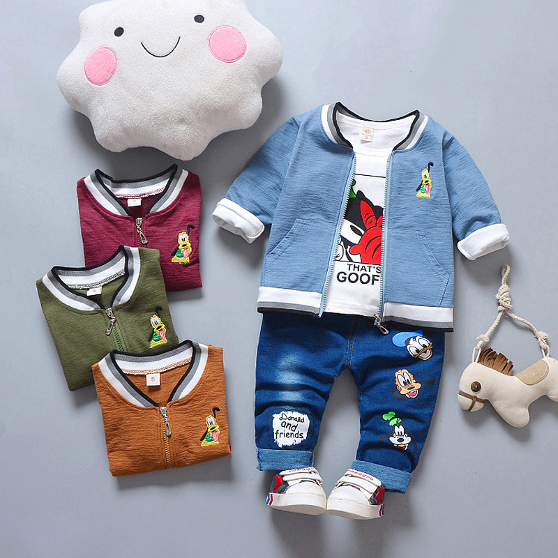 все цены на HYLKIDHUOSE 2018 Autumn Baby Girls Boys Clothing Sets Infant Clothes Suits Toddler Kids Costume Cartoon Coats T Shirt Pants