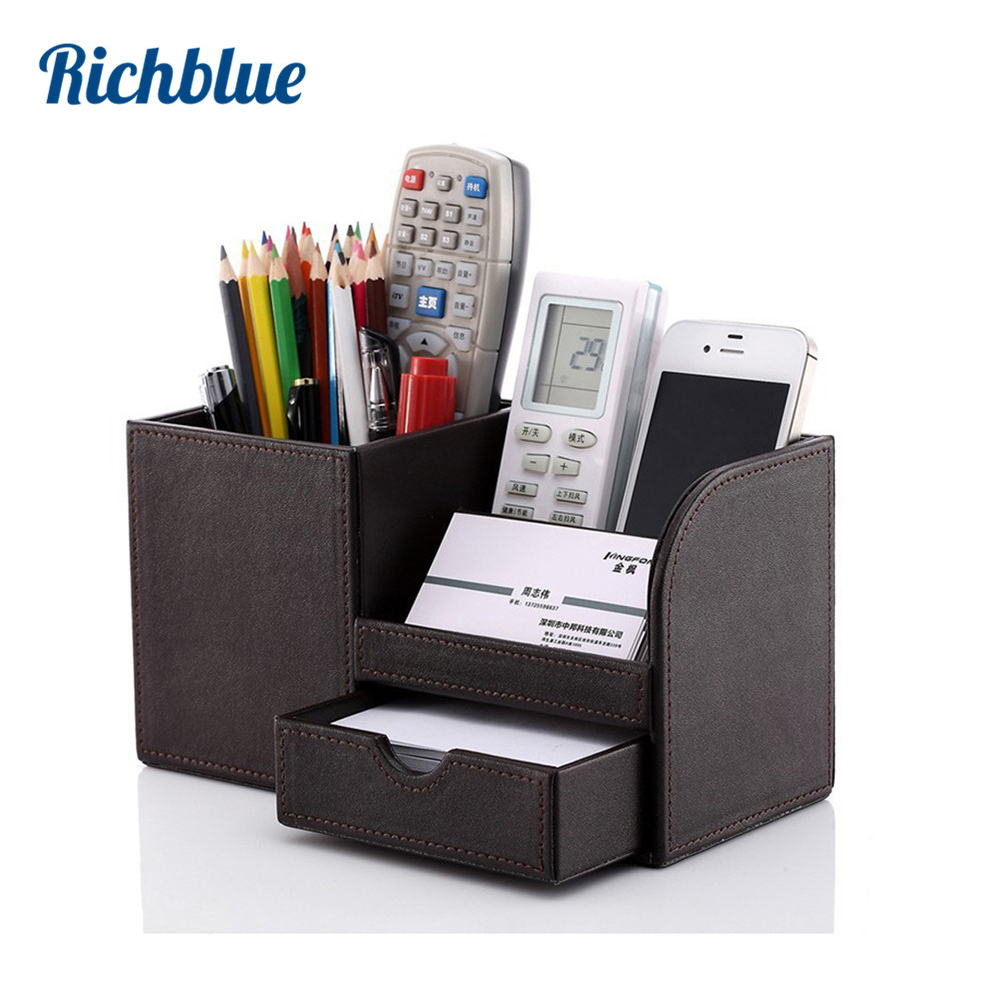 Full PU Leather Pen Pencil Box Holder Case Desk Stationery Organizer Storage Box 8 Colors