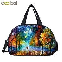 Walk In The Rain Painting Men Travel Duffle Women Travel Hand Bags Teens Large Capacity Shoulder Bag 3D Heat Print Nylon Bag