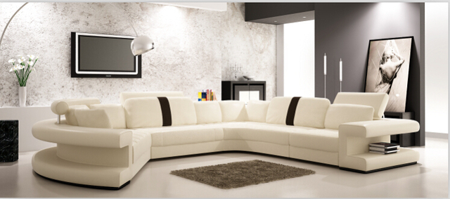 Moderno angolo divano in pelle con sezionale divano del soggiorno ...