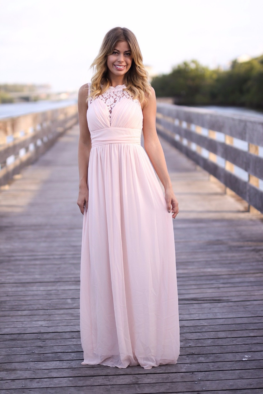 Baratos Blushing pink país dama de honor vestidos largos sin mangas ...