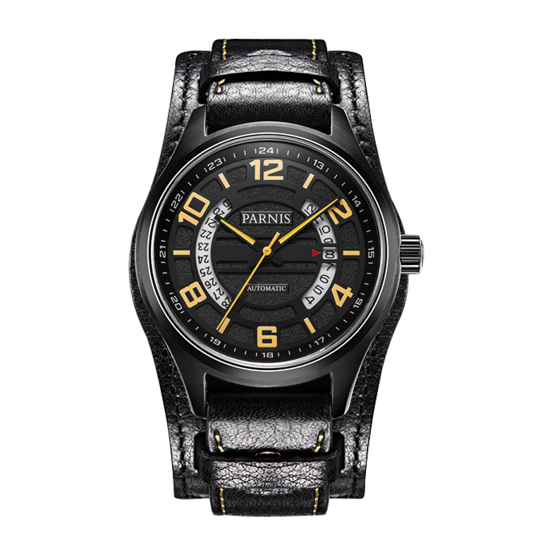 Parnis Pilot IV Seriers Mens Leather Watchband Fashion Business Automatic Mechanical Watch Wristwatch