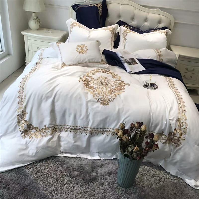 5 pz Bianco Di Lusso Blu di cotone Egiziano Queen Re set di Biancheria Da Letto Orientale Oro Ricamo Copripiumino lenzuola set Federa