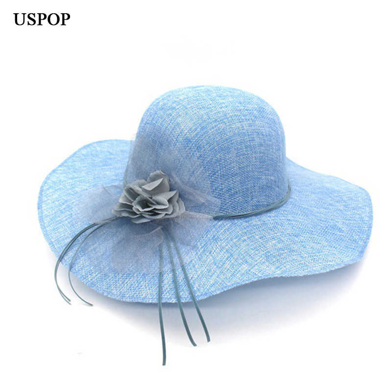 64cc8b97 Women Sun Hats flower wide brim hats for female light weight breathable hat  female casual shade