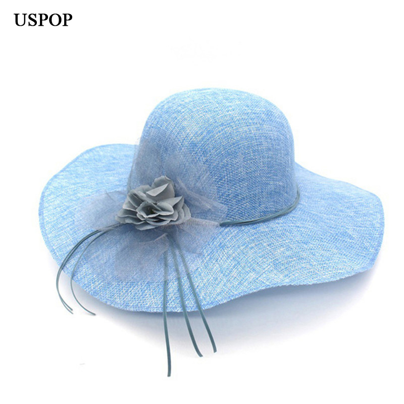 5ad03c8f391 Women Sun Hats flower wide brim hats for female light weight breathable hat  female casual shade