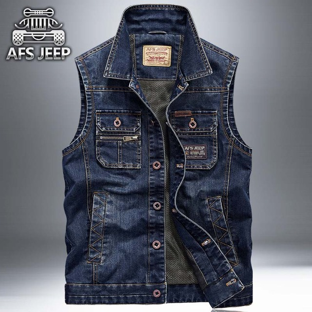 New Sleeveless Jeans Jacket Men Cowboy Vest Multi Pocket Casual Waistcoat  Mens Denim Motorcycle Cargo Vest