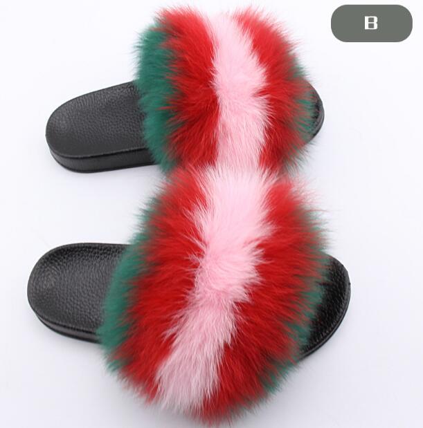 9 8 12 Piel Zapatos Felpa 5 Flip De Verano 2 10 Playa Casa 3 43 Nuevas Zapatillas Mujeres Zorro Diapositivas Real Peluda Suaves Mujer Casual 1 Tamaño Flops Sandalias 7 6 4 q4wxp1t