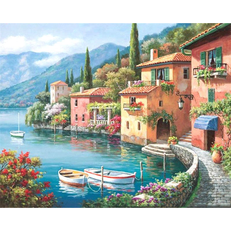DIY Digital Painting By Numbers harbor oil painting mural Kits Coloring Wall Art Picture Gift frameless