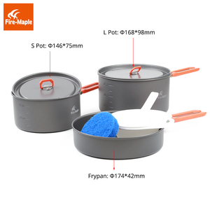 Image 2 - Fire Maple Feast 3 Outdoor Camping Hiking Cookware Backpacking Cooking Picnic Pot Pan Set Foldable Handle 2 Pots 1 Frypan FMC F3