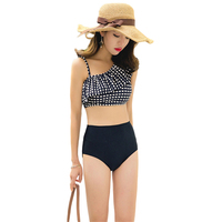 High Waist Swimsuit 2018 Hot One Shoulder Sexy Bikinis Women Swimwear Ruffle Vintage Push Up Padded