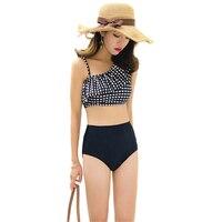 High Waist Swimsuit 2018 Hot One Shoulder Sexy Bikinis Women Swimwear Ruffle Vintage Push Up Padded