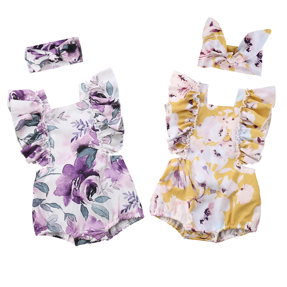 Flower Baby Girls Ruffles Romper Newborn Infant Girl Jumpsuit Summer Sleeveless Baby Clothes Girls Costumes