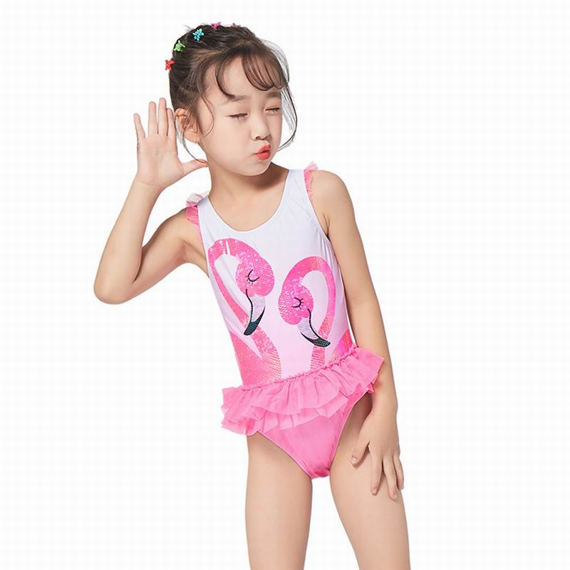 Kids Girls Flamingo Swimwear Sets Long Sleeve Patchwork Playsuits+Hat 2Pcs Children Girl Beachwear Clothing Sets