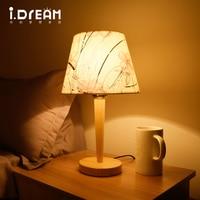 IDERAN Wooden Desk Lamp E27 LED Bulb Table Lamp Bedroom Desktop Light Desk Lamp With Wooden