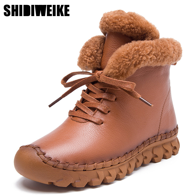 Handmade Botas de Tornozelo Martin Botas Flat 100% Botas de Neve de Inverno Genuíno Real Sapatos De Couro Retro Mulheres Sapato Botines Mujer m118