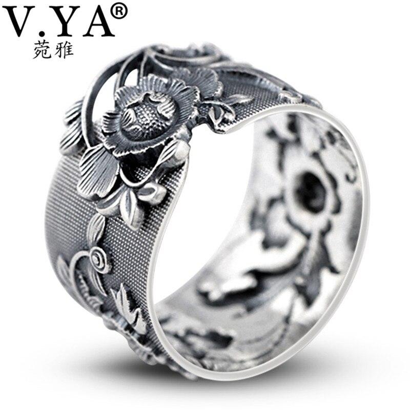 V. יה רטרו אדמונית פרח 990 כסף סטרלינג טבעות נשים מתכוונן תאילנדי כסף טבעת בציר תכשיטים סיטונאי