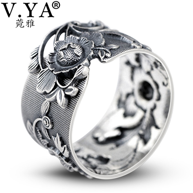 S990 Sterling Silver Ring Lucky Women Hollow  Peacock Adjustable Ring