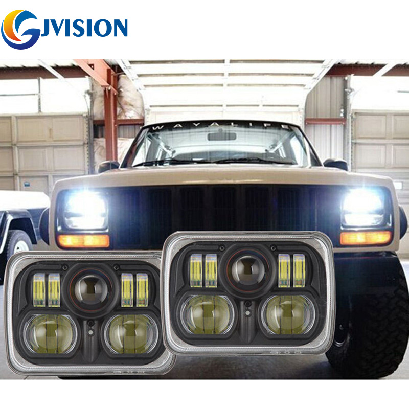 Free Shipping Pair Square 7x6 led headlight Hi/Lo beam for Jeep Wrangler YJ Cherokee XJ Comanche MJ 5X7'' Auto led headlamp