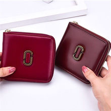 Fashion Women Leather Zipper Wallet Lady Portable Multifunction Small Solid Multicolor Purse Hot Female Clutch Cart