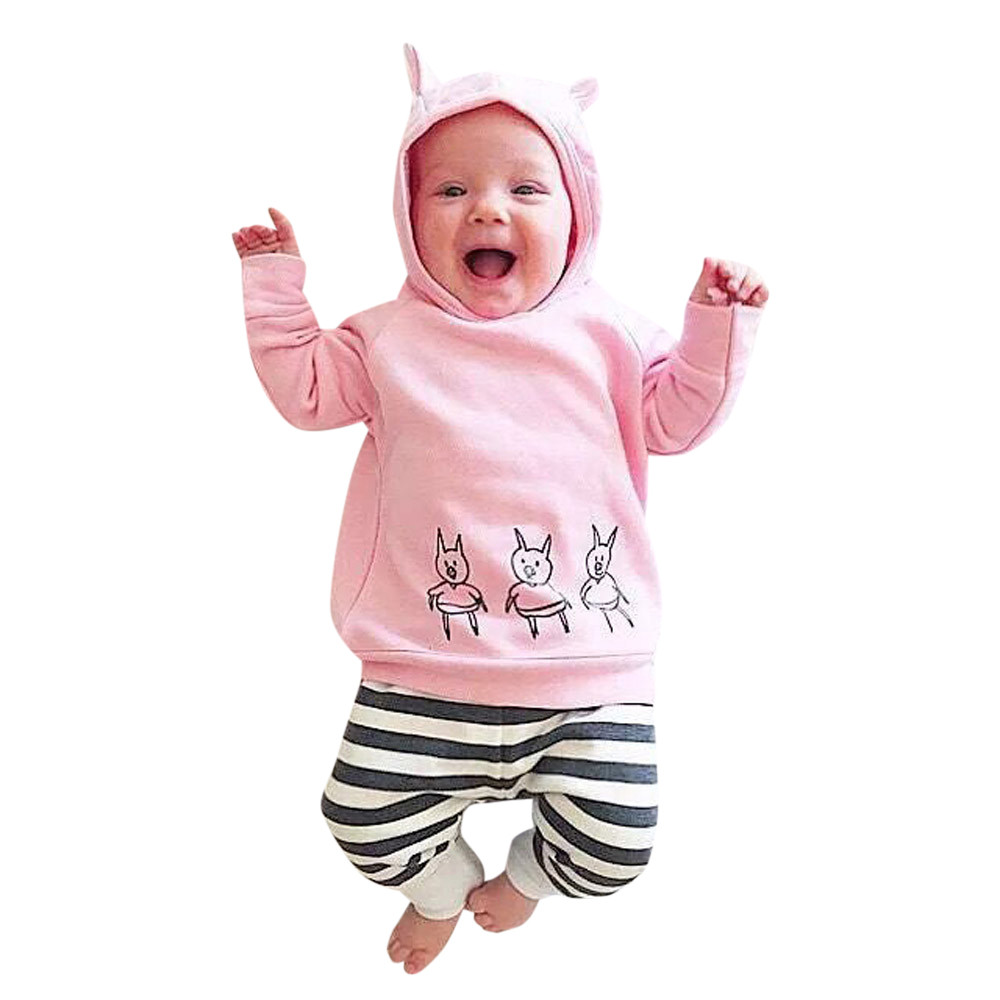 Muqgew Baby Girl Winter Clothes Pigs Print Clothes Set