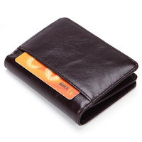 RFID Wallet Antitheft Scanning Leather Wallet Hasp Leisure Men S Slim Leather Casual Mini Wallet Case