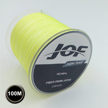 4STRANDS 100M JOF Brand 100% PE Material Multifilament PE Braided Fishing Line Super Strong 10/20/30/40/60/80/100LB(China)