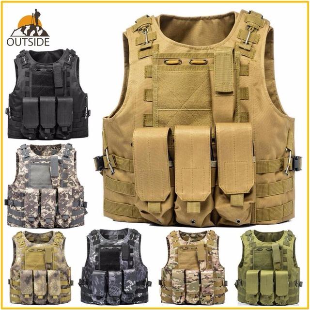 USMC Airsoft Military Tactical Vest Molle Combat Assault Plate Carrier Tactical Vest 7 Colors CS Outdoor Clothing Hunting Vest