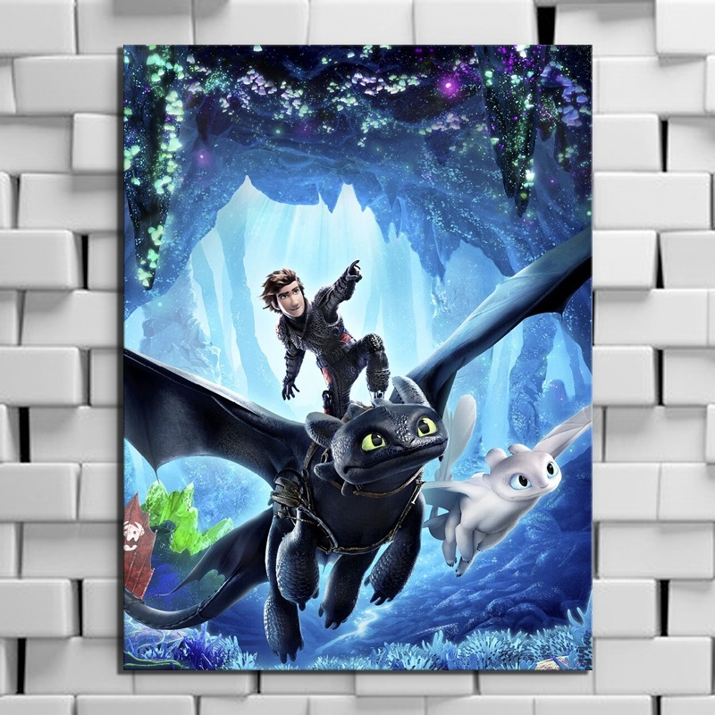 Movie How To Train Your Dragon 3 The Hidden World Canvas Poster Toothless Night Fury Picture Print Wall Painting Boy Room Decor interior design