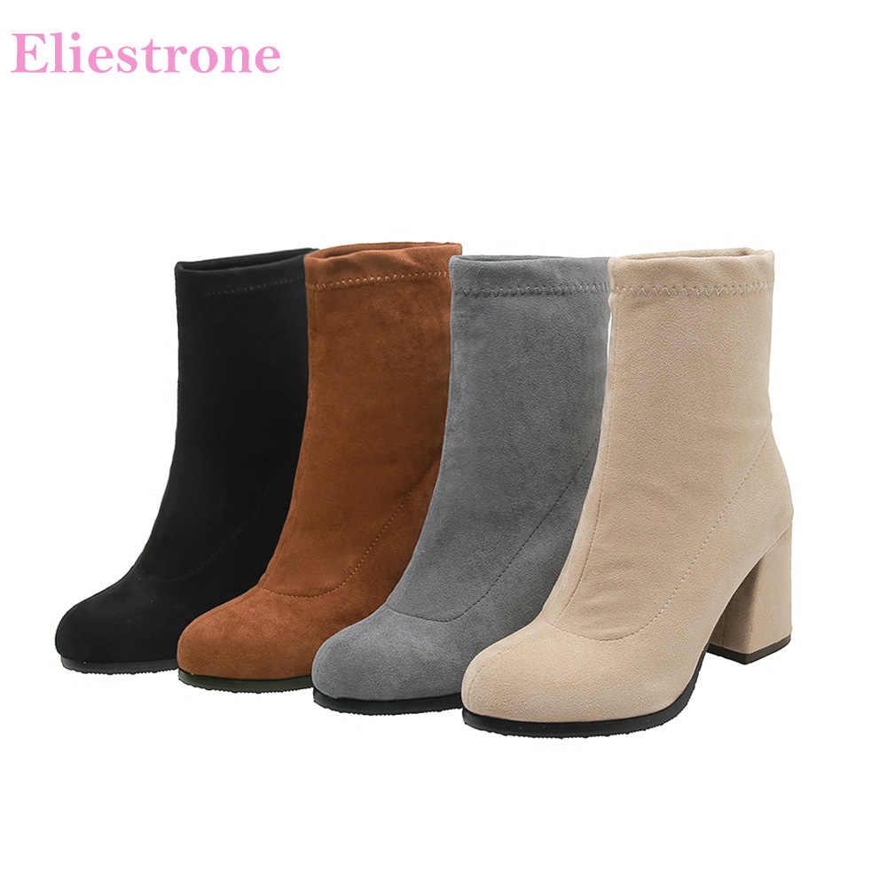 2019 Kış Marka Yeni Akın Siyah Gri Kadın Orta Buzağı Çıplak Botlar Yüksek Topuklu Bayan Ayakkabıları BB021 Artı Büyük Küçük boyutu 10 32 43 46