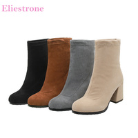 2019 Winter Brand New Flock Black Gray Women Mid Calf Nude Boots High Heels Lady Shoes BB021 Plus Big Small Size 10 32 43 46