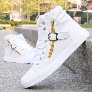 Image 4 - 2018 New White Men Boots Winter Shoes Mens Hip Hop Casual Shoes Autumn Fashion Zipper Decoration Comfortable Men High Top Shoes