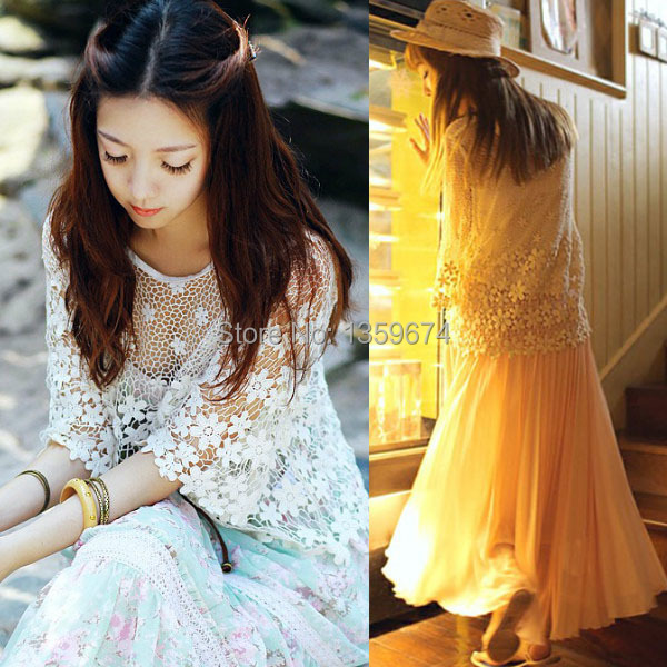 8fa6361ce691bd Women Sexy Semi Sheer Embroidery Floral Lace Crochet Tee T-Shirt Top Blouse