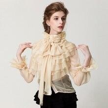 2fa5cdb5c4 Delle nuove donne di stile retrò palazzo collare Camicette di pizzo foglia  di loto bordo giacca, manica lunga delle donne di usu.