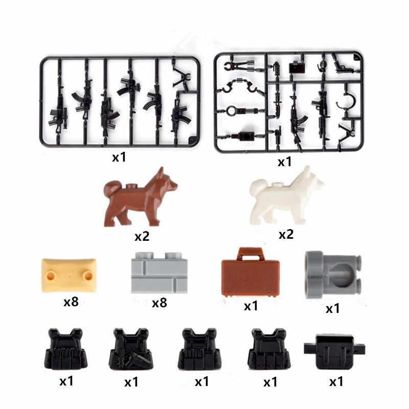 Строительные блоки WW2 милитари спецназ оружие полицейских обойма песочники собаки маленькие частицы аксессуары совместимый с лего