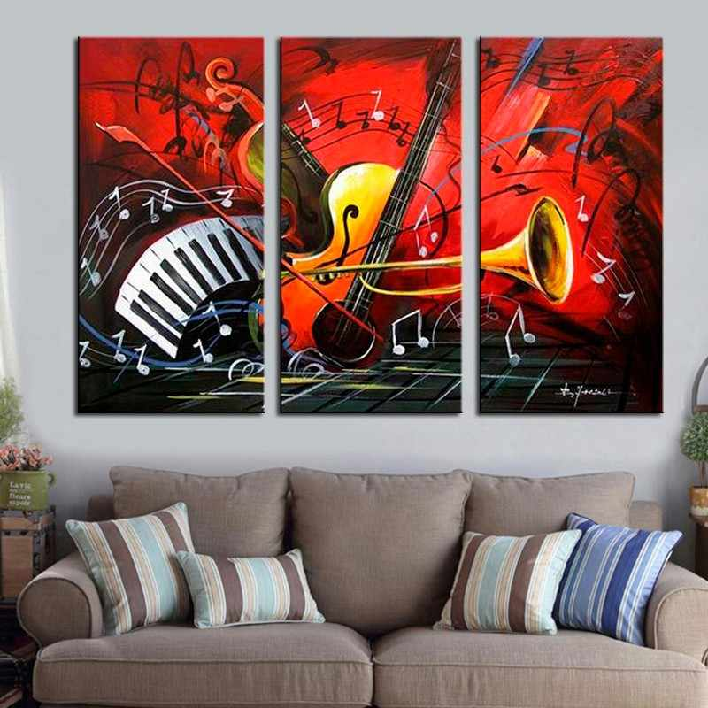 Crazy Musical Instrument Modern Wall Art Decor Pictures Hand Painted Oil Painting on Canvas for Home Decor 3 Panel Unframed