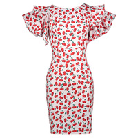 Sisjuly Women S Vintage Dress 2017 Summer Short Cascading Ruffle Sleeve Bodycon Cherry Print Pattern Sweet