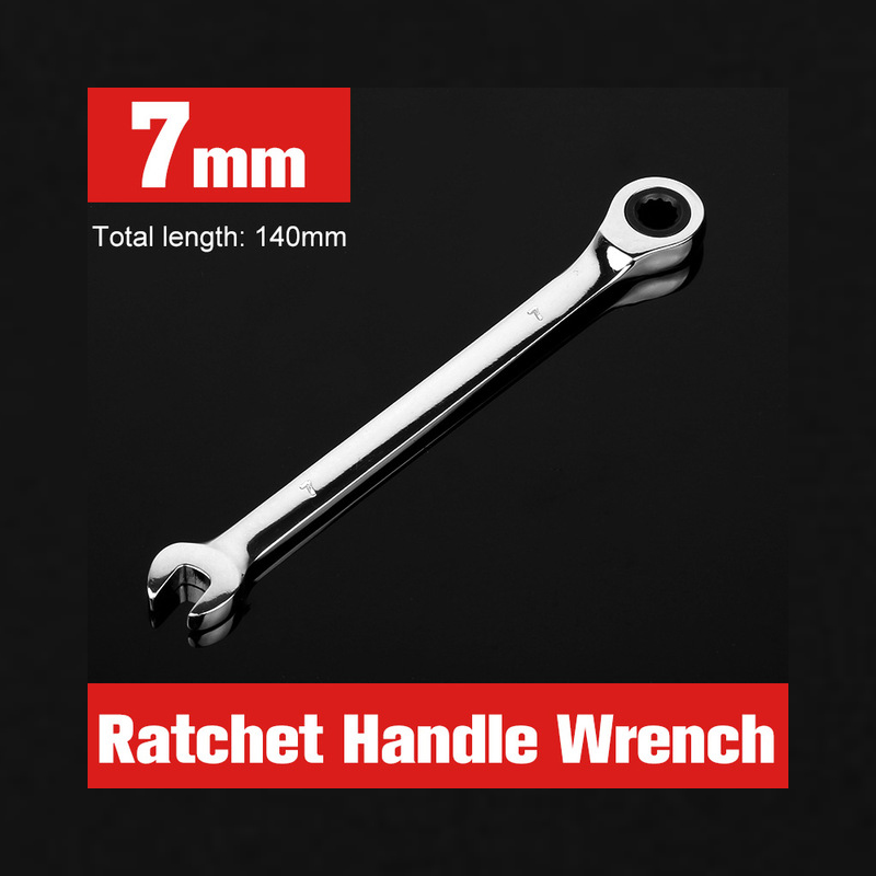 1pcs Ratchet Combination Spanner 7mm Ring spanners Machine Car Repair Dual-use Tools Key Ratchet Wrench Flexible Hand Tool